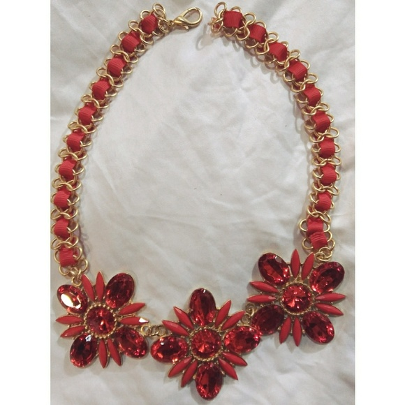 76 off Ashley Stewart Jewelry Red Gold Necklace Costume Poshmark